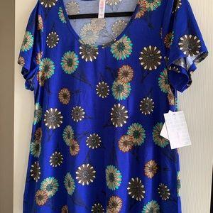 Women's Lularoe Classic T Large Royal Blue Floral